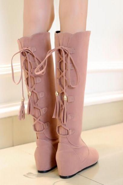 FREE SHIPPING Back Lace Up Wedge Boots
