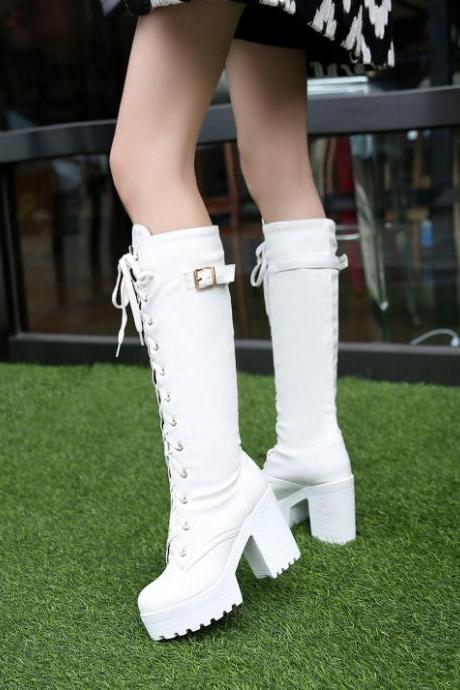 FREE SHIPPING White Lace Up Platform Boots