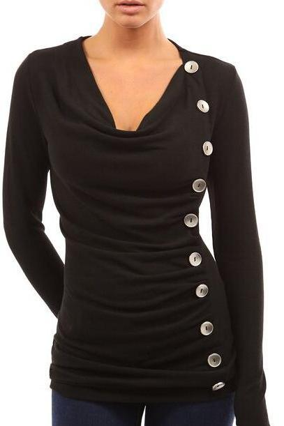 FREE SHIPPING Black Buttons Decorated Long Sleeve Top