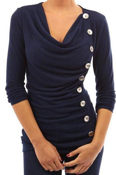 FREE SHIPPING Navy Buttons Decorated Long Sleeve Top
