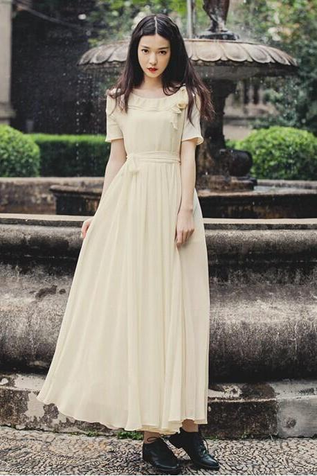 FREE SHIPPING Vintage Beige Chiffon Maxi Dress