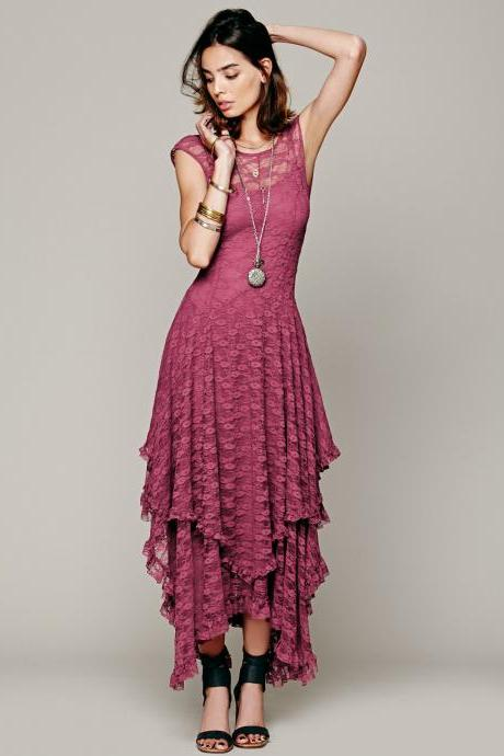 FREE SHIPPING Vintage Purple Asymmetrical Lace Sleeveless Maxi Dress