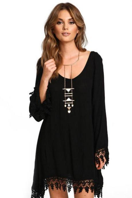 FREE SHIPPING Black Lace Splicing Long Sleeve Dress