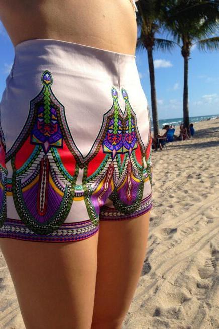 FREE SHIPPING 2016 New Tribal Print Shorts In Grey