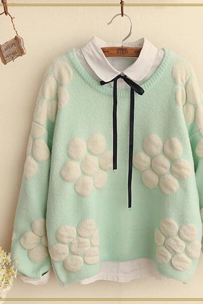 FREE SHIPPING Cute Mint Floral Stitching Long Sleeve Sweater