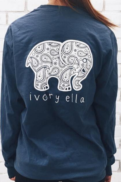 FAST SHIPPING 2016 New Elephant Pattern Long Sleeve Sweater Sweatshirt