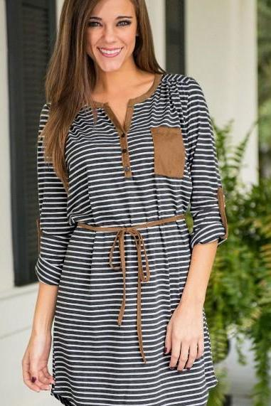 FAST SHIPPING 2016 New Fashion Women's Striped Long Sleeved Dress