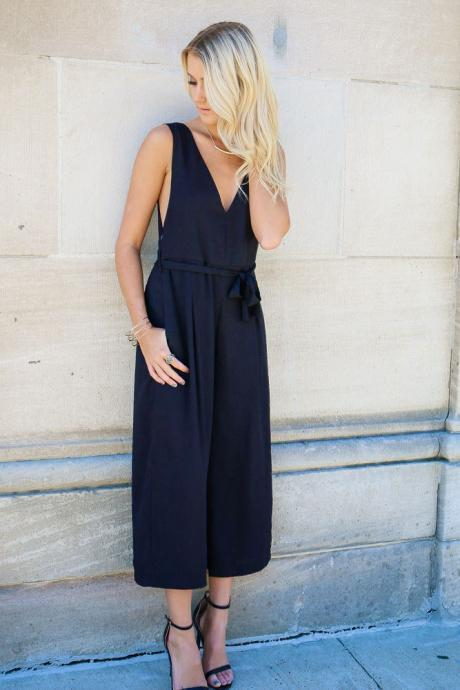 FAST SHIPPING 2016 New Fashion Women's Navy V-Neck Backless Jumpsuit