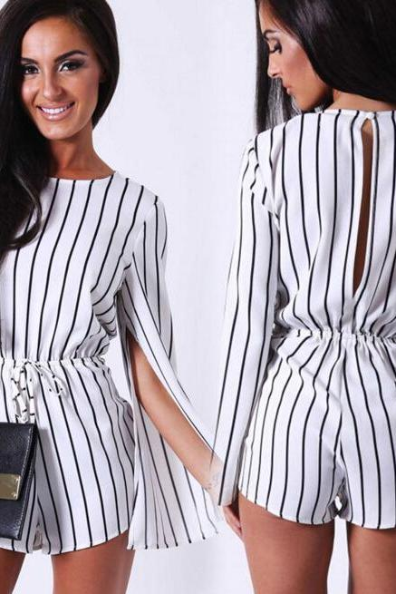 FAST SHIPPING 2016 New Fashion Women's White Stripes Split Long Sleeve Romper