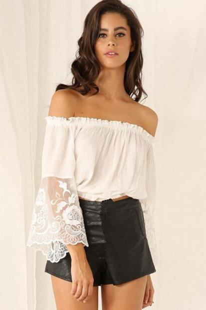 White Off-The-Shoulder Crop Top with Lace Bell Sleeves