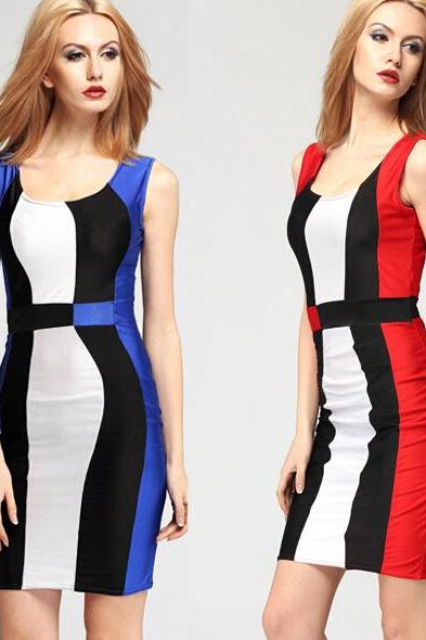 FAST SHIPPING 2016 New Fashion Women's Color Block Sleeveless Bodycon Dress, Party Dress