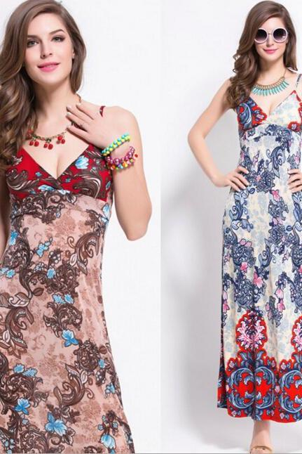 FAST SHIPPING 2016 New Bohemia V-Neck Floral Print Straped Maxi Dress, Beach Dress