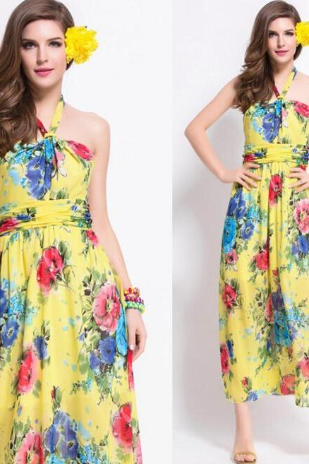 FAST SHIPPING 2016 New Bohemia Yellow Floral Prints Maxi Halter Dress, Beach Dress