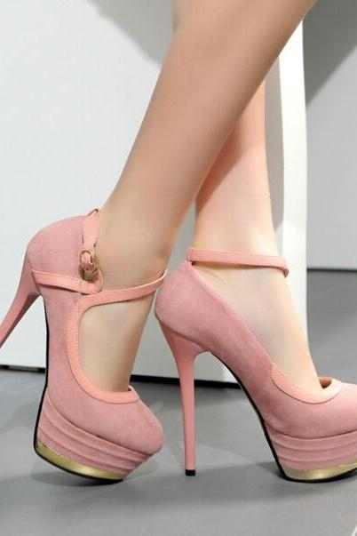 New Sexy Pink Women's Fashion Suede Platform Pump Night Club High Heel