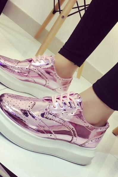 Metallic Lace-up Platform Brogue Shoes