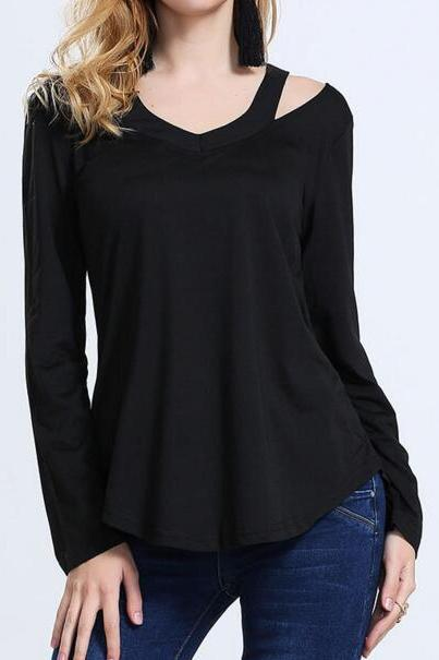 FAST SHIPPING New Women's Fashion Black V-Neck Long Sleeve T-shirt Loose Fit T-shirt