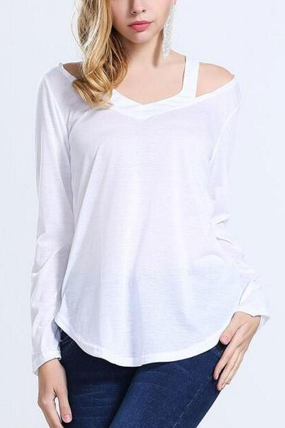 FAST SHIPPING New Women's Fashion White V-Neck Long Sleeve T-shirt Loose Fit T-shirt