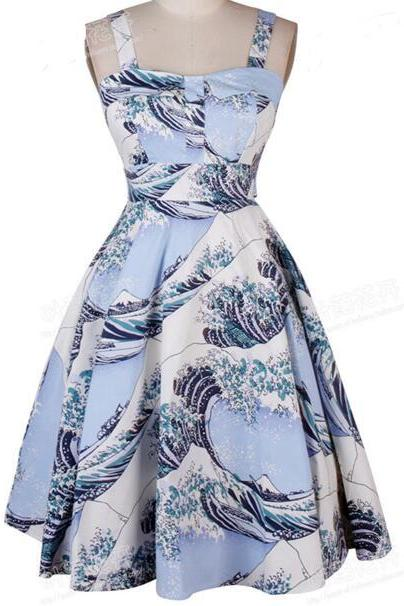 FAST SHIPPING Vintage Ocean Waves Printed A-Line Dress