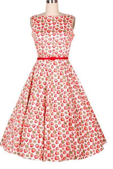 FAST SHIPPING 20s Vintage Strawberry Printed A-Line Dress