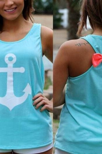 FAST SHIPPING New Women's Fashion Sailor Anchor Back Bow Tank Top T-shirt