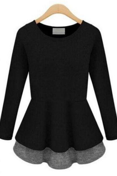 FAST SHIPPING New Fashion Women's Black Melange Long-Sleeve Peplum Top