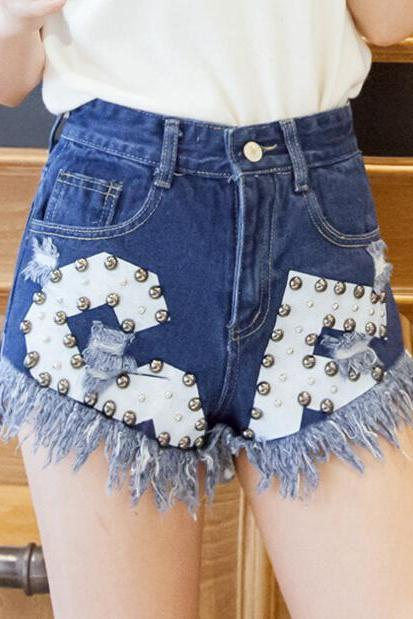 FAST SHIPPING New Women's Fashion Rivets Distressed High Waist Denim Shorts