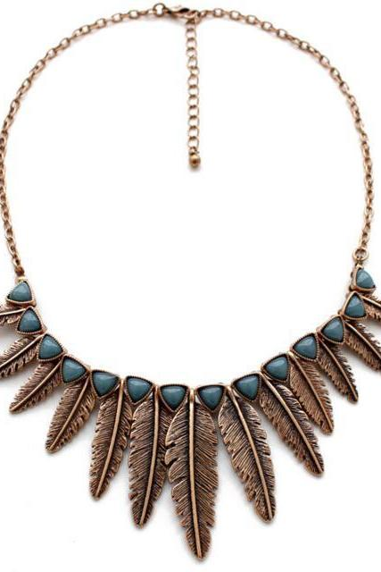 FAST SHIPPING New Fashion Vintage Feather Pendant Collar Statement Bib Necklace