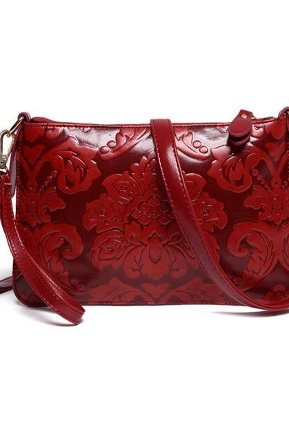 FAST SHIPPING New Vintage Women Red Floral Embossing Shoulder Bag Purse