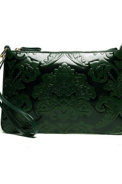 FAST SHIPPING New Vintage Women Floral Green Embossing Shoulder Bag Purse