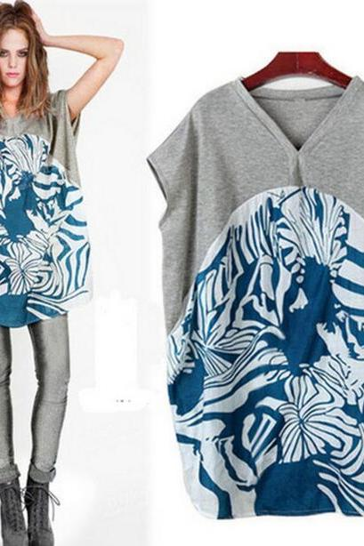FAST SHIPPING New Women's Vintage Printed Fashion Loose Fit T-shirt