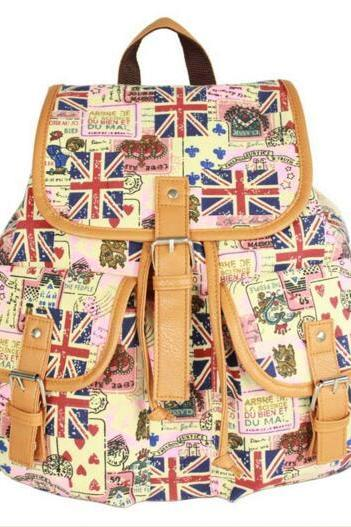 FAST SHIPPING New Vintage UK Flag Printed Backpack