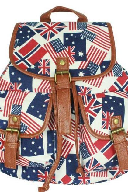 FAST SHIPPING New Vintage Flag Printed Canvas Backpack