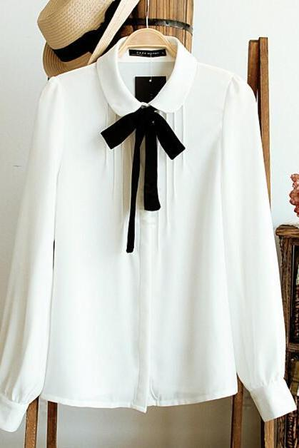 FAST SHIPPING Retro White Lace Up Bow Chiffon Blouse