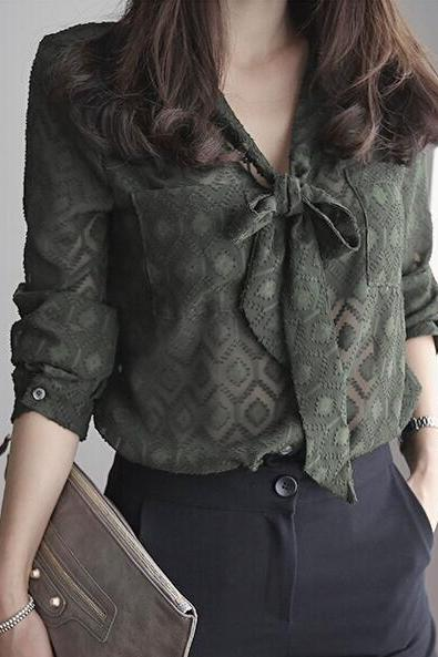 FAST SHIPPING Fashion Women Army Green Lace Up Bow Chiffon Blouse