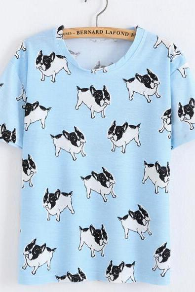 FAST SHIPPING New Harajuku Blue Dogs Printed Summer T-shirt