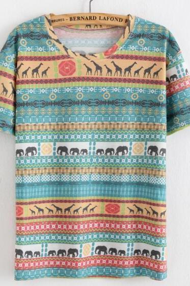 FAST SHIPPING New Vintage Boho Animal Printed Summer T-shirt