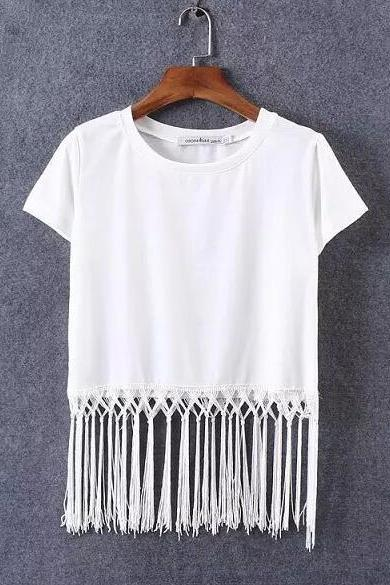Short-sleeved T-shirt with Fringe and Tassel Hem