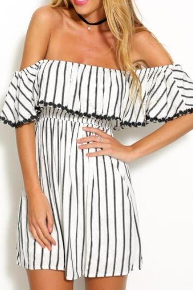Black and White Striped Off-The-Shoulder Ruffled Double Layered Short Dress Featuring Pom-Pom Trimmed