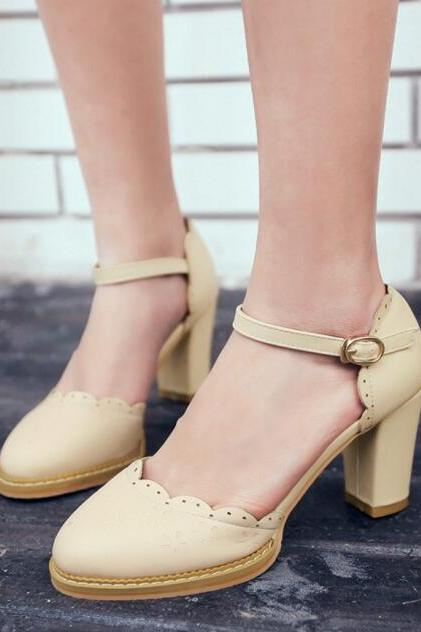 Pointed-Toe Scalloped Ankle Strap Chunky Heels