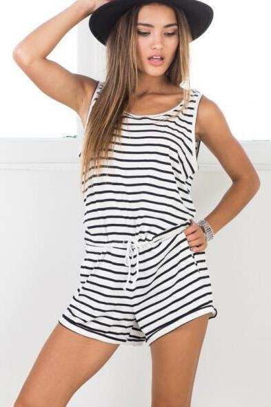 FAST SHIPPING 2016 New Fashion Women's Summer Stripe Print Romper Playsuit