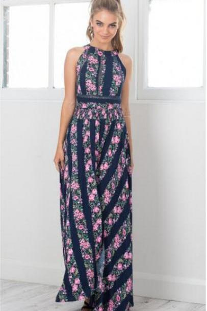 FAST SHIPPING 2016 New Fashion Women's Boho Floral Print Sleeveless Halter Maxi Dress