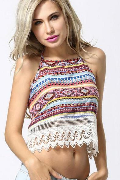 New Women's Fashion Boho Ethnic Pattern Backless Tank Top