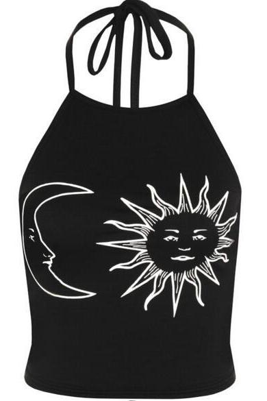 New Women's Fashion Moon Sun Backless Tank Top