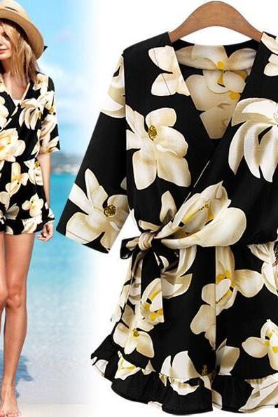 FAST SHIPPING 2016 New Fashion Women's Summer Floral Print Romper Loose Fit Playsuit
