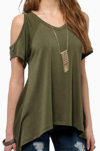 New Women's Fashion Casual V-Neck Cold-shoulder T-Shirt Top