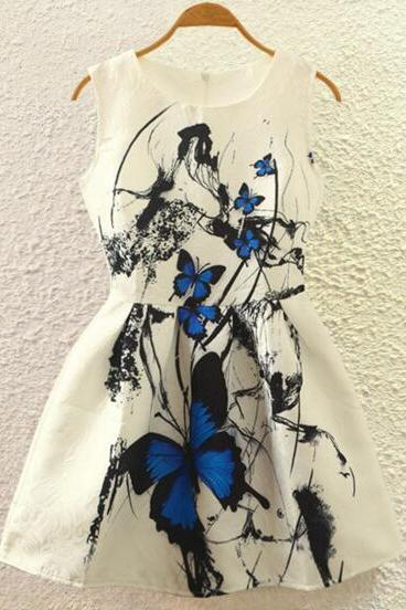 FAST SHIPPING 2016 New Summer Fashion Women's Vintage Blue Butterfly Prints Sleeveless A-line Dress
