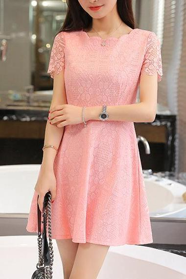 New Fashion Women's Fit And Flare Lace Dress In Pink