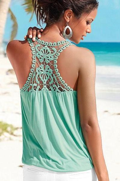 New Women's Summer Fashion Lace Splicing V-neck Sleeveless Tank Top In Mint