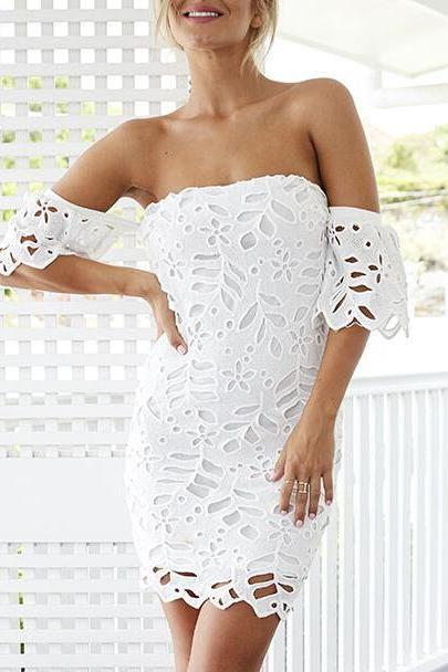 Free Shipping Sexy White Women's Fashion Lace Bodycon Dress Off The Shoulder Lace Dress