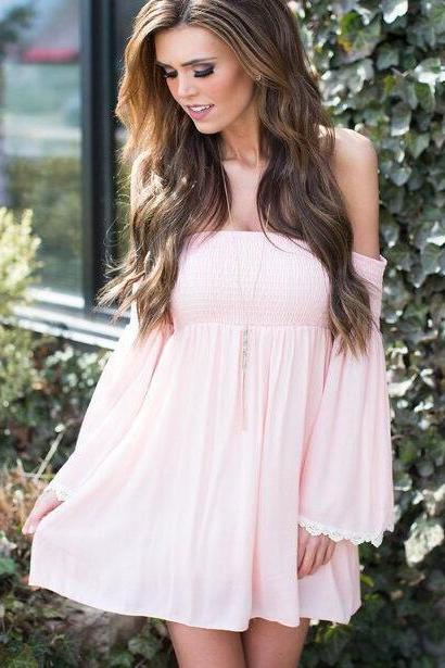 FREE SHIPPING New Fashion Women Pink Flare Long Sleeve Off The Shoulder Chiffon Dress